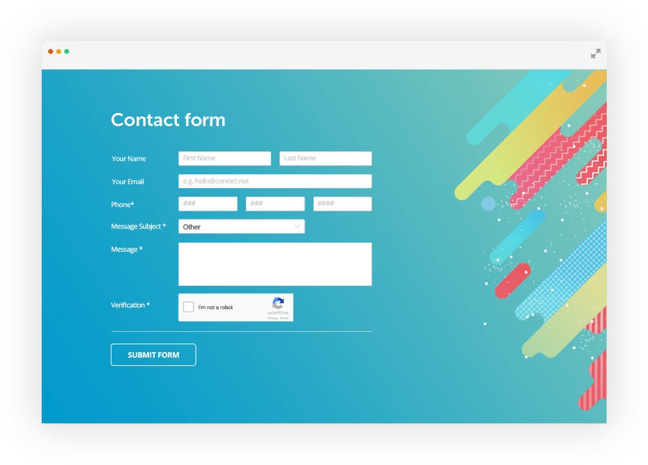 contact form with email messages and custom design