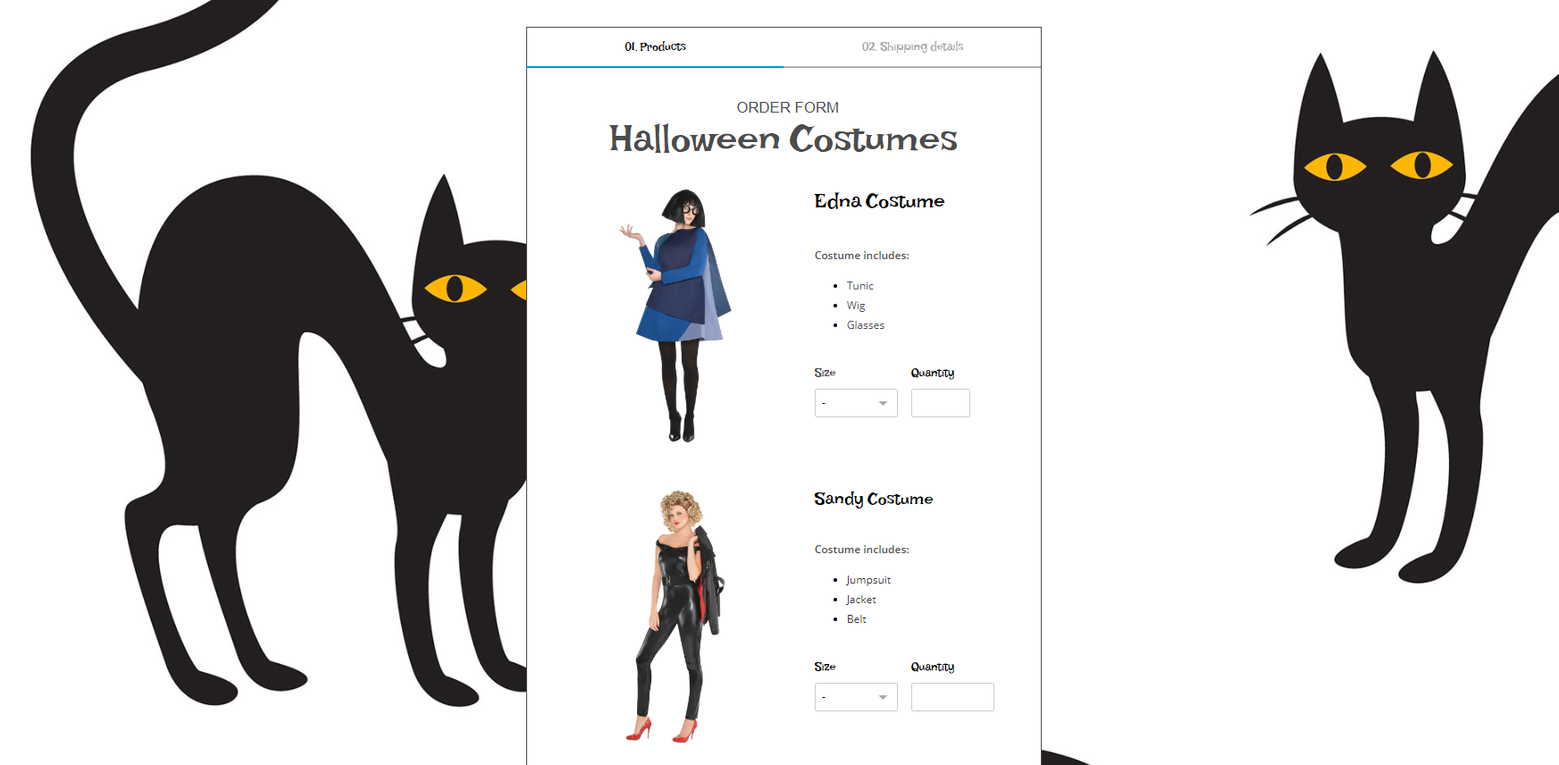 Halloween costume order form