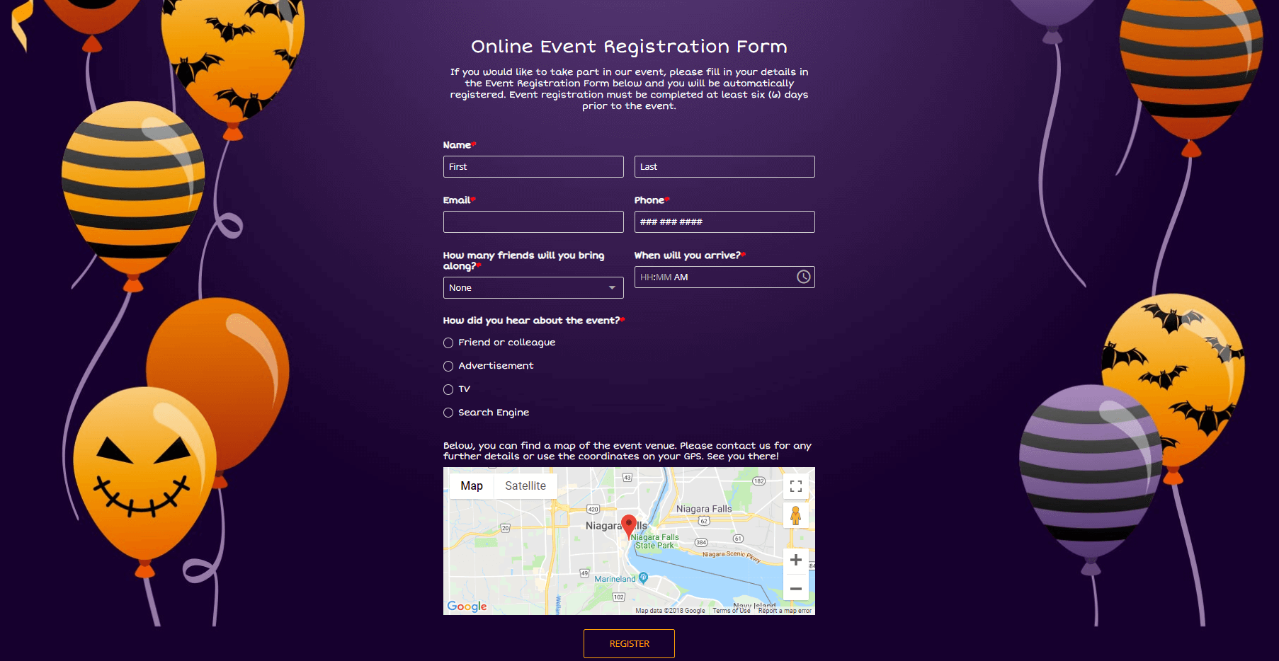 Halloween party registration form