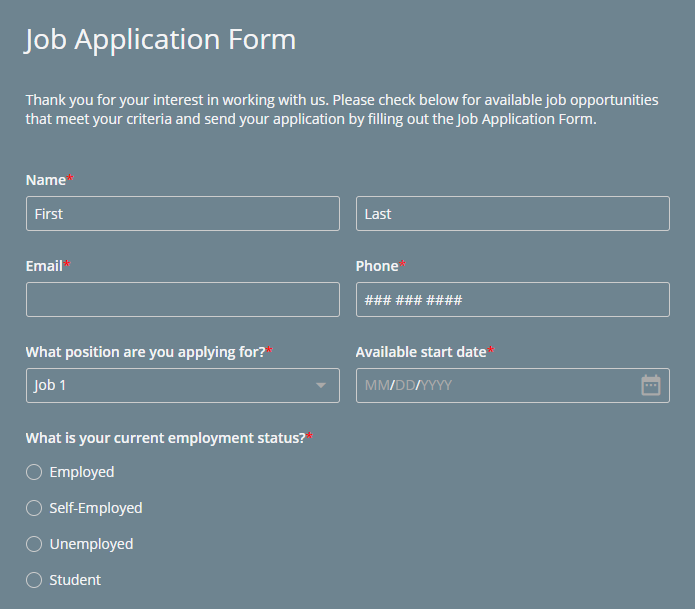how to create an online job application form