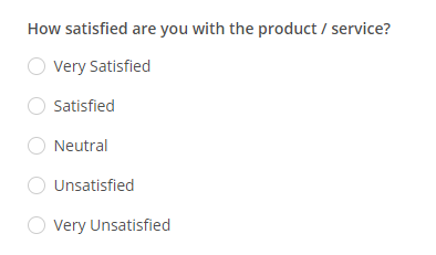 Likert scale question example on a customer satisfaction form