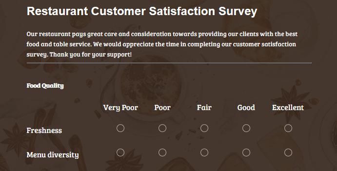 restaurant satisfaction survey