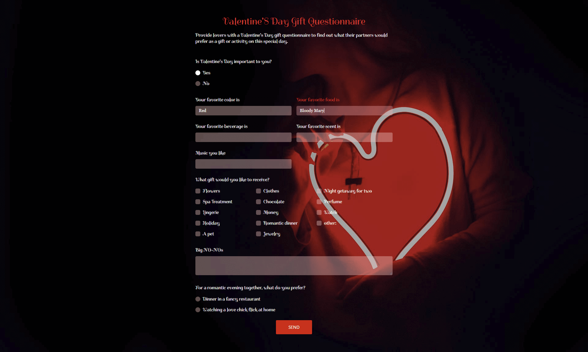 Valentine's Day gift questionnaire
