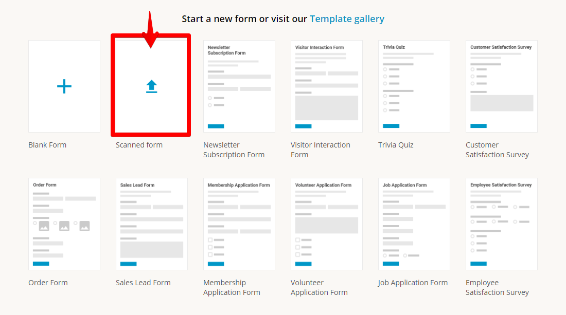 123formbuilder new form page with digitization feature